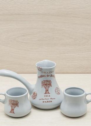 Набор для кофе турка для варки с двумя чашками стиль винтаж