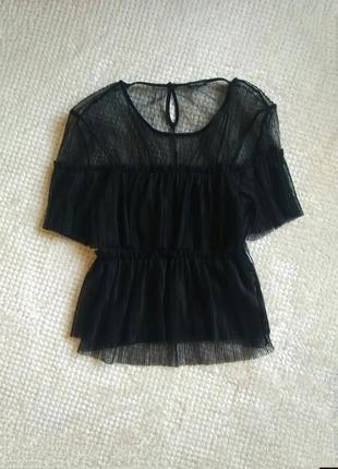 Черная прозрачная плиссированная блуза топ футболка сетка с воланом