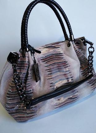 Кожаная сумка мешком ( лазерное напыление)