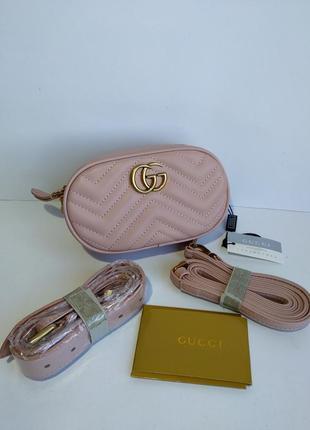 Женская сумочка на пояс розовая поясная сумка