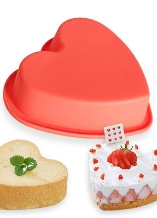 Силиконовая форма для выпечки тортов и кексов сердце