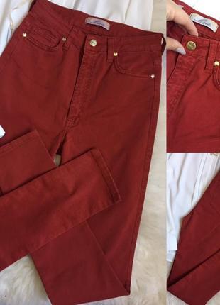 Красные джинсы mivite италия с высокой посадкой / чёрные джинсы с высокой посадкой