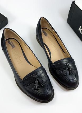 Женские туфли мокасины лоферы натуральная кожа темно-синие чёрные с кисточками