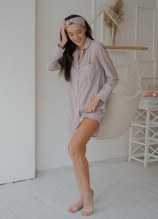 Бежевая пижамка рубашка