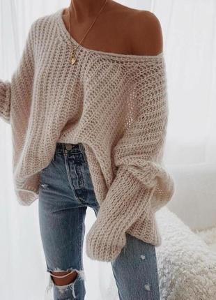 Уютный свитер, вязаный свитер, свободный вязаный свитер