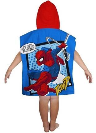 Пляжное полотенце-пончо с капюшоном спайдермен (человек паук) для мальчика 2-6 лет