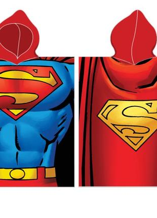 Пляжное полотенце-пончо с капюшоном супермен для мальчика 2-6 лет