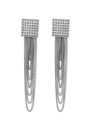 Стильные серьги серёжки с цепочками цвет серебро