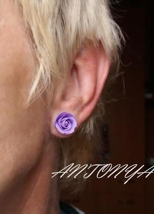 Серьги-гвоздики нежного фиолетового оттенка
