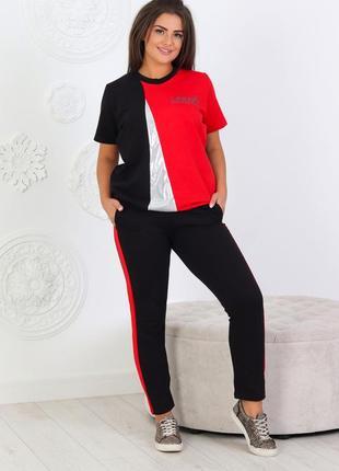 Повседневный женский трикотажный костюмчик футболка + брюки (1208)