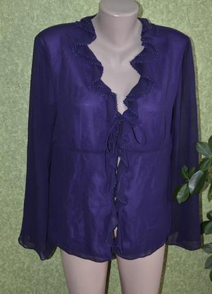 Нежный шелковый кардиган фиолетового цвета
