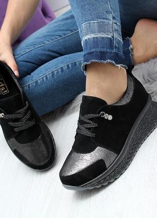 Замшевые женские кроссовки на платформе 36 размер