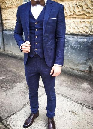 Костюм чоловічий, костюм мужской, синій костюм, свадебный, выпускной, костюм тройка
