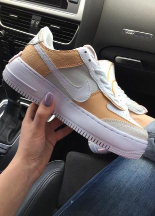 Nike air force 1 low shadow beige бежевые женские кроссовки наложенный платёж купить