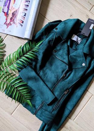 Красивая новая куртка курточка косуха под замш xs 34