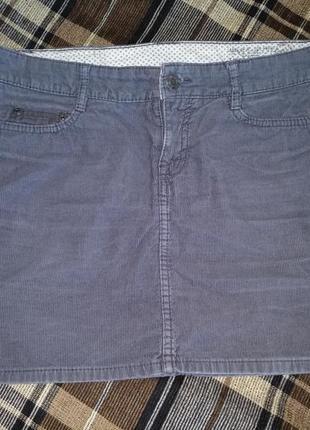 Мини юбка микровельвет пот-43 см
