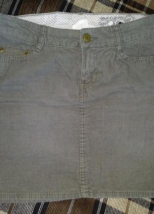 Мини юбка микровельвет пот-42 см
