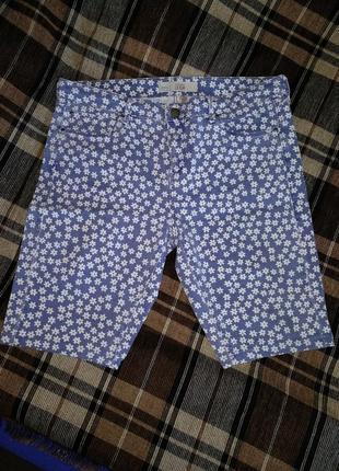 Прикольные джинсовые шорты в цветочный принт пот 42-45 см