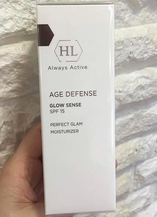 Увлажняющий тональный крем spf 15 age defense glow sense holy land 50 ml.