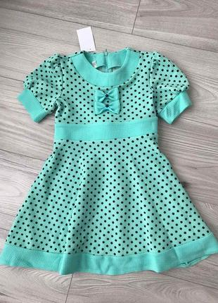 Платье мятного цвета «горошинка» на рост 92-104см
