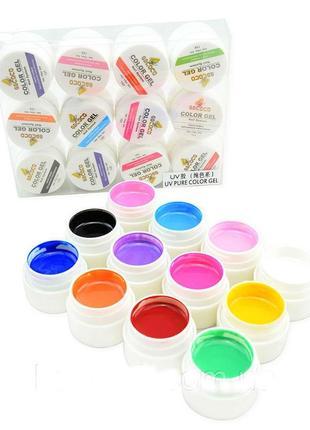 Цветной гель gdcoco uv, набор 12 штук