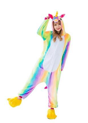 Пижама кигуруми яркого радужного единорожки