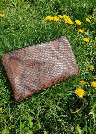 Женская сумочка клатч  модный принт (натур.кожа) италия