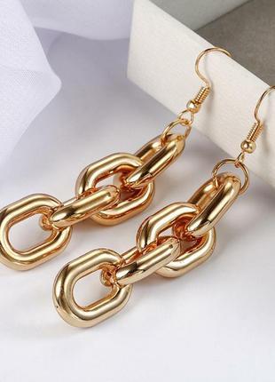Стильные массивные серьги крупные золотые золотистые цепь цепочка