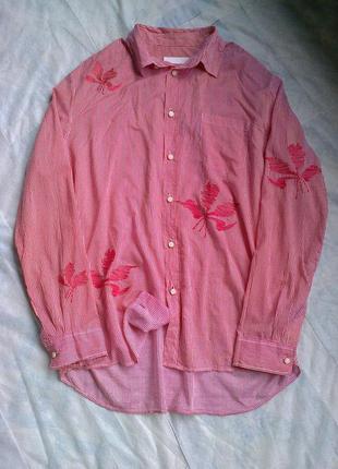 Невесомая интересная хлопковая рубашка в вышивку от дизайнера nicole farhi.размер 48-50