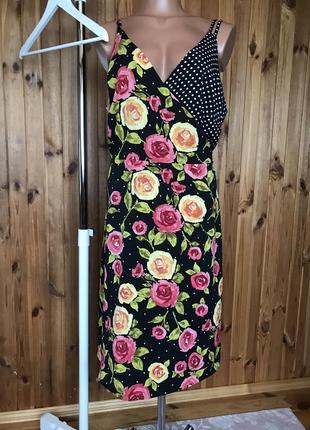 Платье сарафан на запах tu в розы и горошек 18 размер