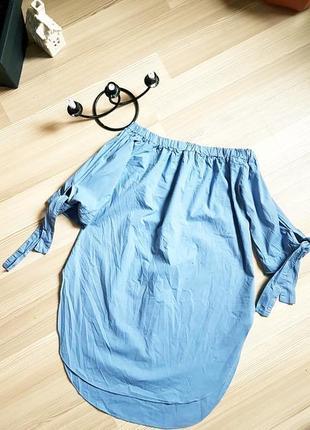 Хлопковая туника разлетайка рубашка голубого цвета с оголенными плечами