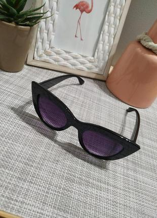 Актуальные черные  солнцезащитные очки, кошечки кошачий глаз, сонцезахисні окуляри5 фото