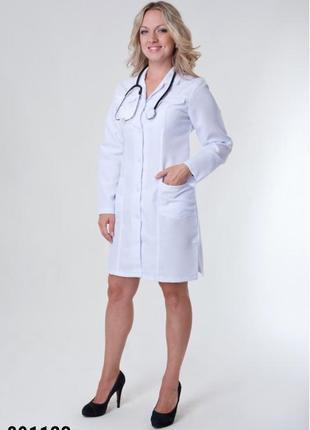Белый халат медицинский, габардин, р. 40-52; женская медицинская одежда, 891123