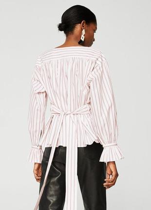 Новая полосатая блузка блуза рубашка с поясом mango