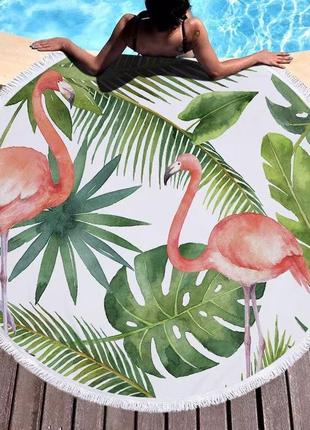 Пляжный коврик подстилка фламинго