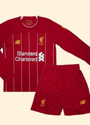 Футбольная форма ливерпуля 19-20 с длинным рукавом для детей домашняя new balance (2844)