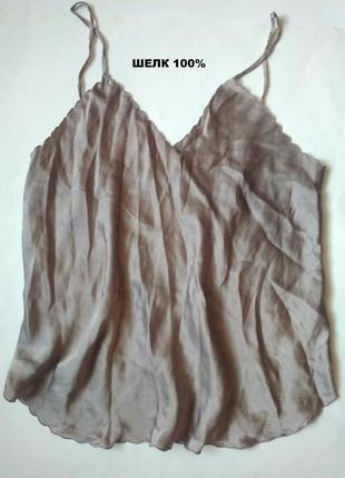 14 л 42 шелковая легкая блуза топ на бретельках из натурального шелка 100%
