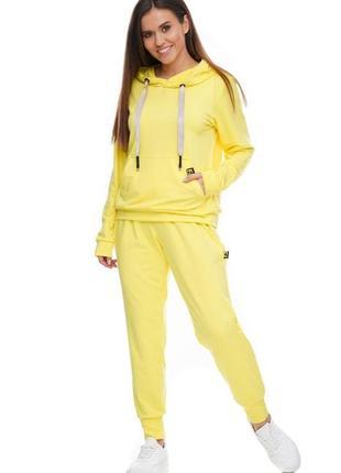 Женский спортивный костюм с капюшоном лимонный, s-xl