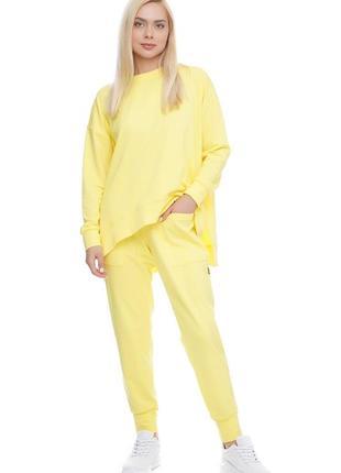 Женский спортивный костюм реглан и брюки желтый лимонный, s-xxl