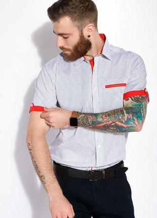 Новая стильная качественная мужская рубашка белого цвета с коротким рукавом