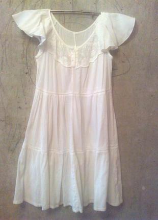 Белое летнее платье. размер s. хлопок