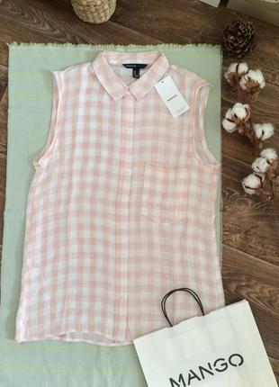 Блуза, рубашка в клетку mango
