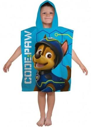Пляжное полотенце пончо щенячий патруль гонщик, маршал для мальчика 2-6 лет