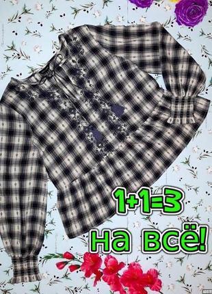 🎁1+1=3 модная блуза вышиванка в клетку с баской new look, размер 48 - 50