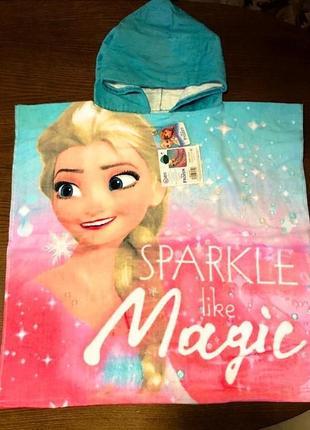 Пляжное полотенце-пончо disney frozen холодное сердце эльза, для девочки 3-7 лет2 фото