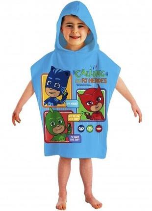 Пляжное полотенце пончо с капюшоном герои в масках - гекко, алетт, кэтбой