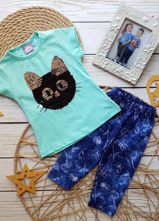 Детский модный летний костюм лосины с футболкой в пайетках кот