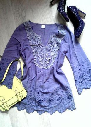 Натуральная блуза лавандового цвета с вышивкой