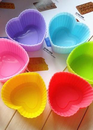 Набор из 6шт. силиконовых форм для выпекания капкейков, маффинов, кексов (сердце)