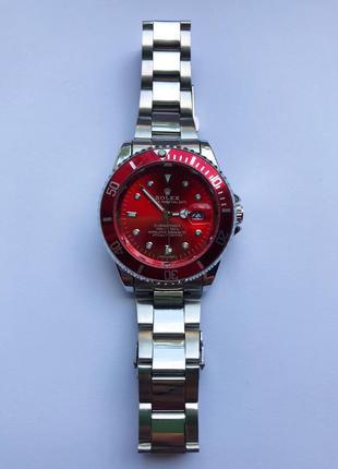 Часы мужские стального цвета с красным циферблатом
